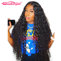 Glueless Water Wave Wig Malaysian Lace Front Human Hair Wigs Pre Plucked 12x3 Lace Wig Non Remy Wigs For Women Black Wonder girl