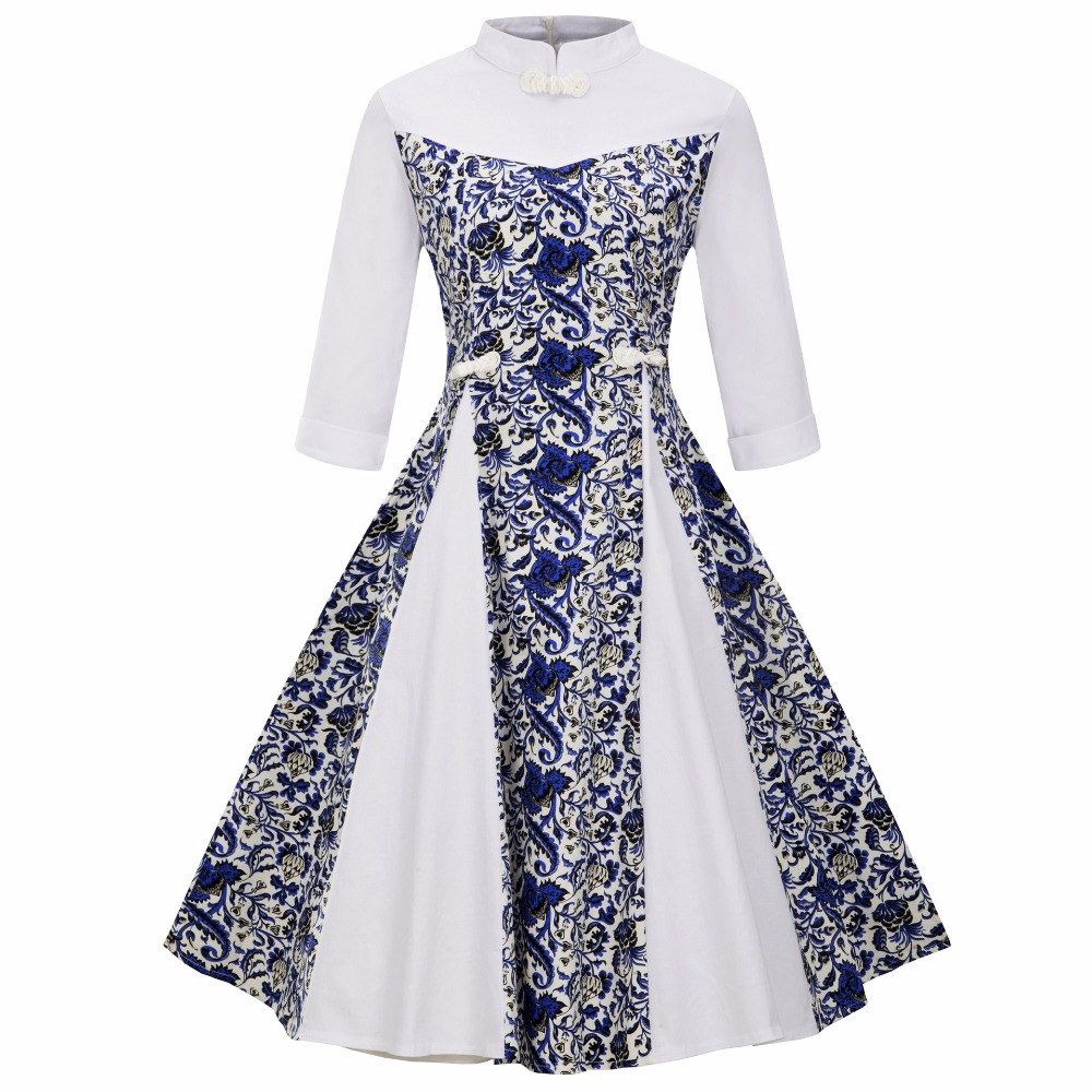 Sensfun 2018 Women Dress Turtleneck Floral With Patchwork Vintage Dress Feminie A Line Half Sleeves Vestido Retra Party Dresses