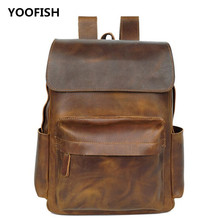 YOOFISH Hot Selling  Genuine Leather Vintage Backpack Men Fashion traveling bags men Cowhide Zipper Shoulder xz-050