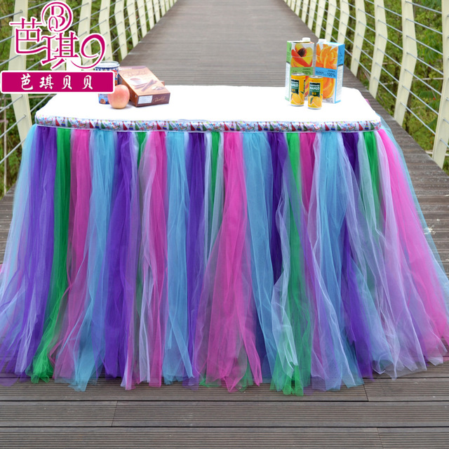Table Tutu Skirt MADE TO ORDER Rainbow Tulle Tableskirt For Fairy Birthday Party Baby Shower Graduation