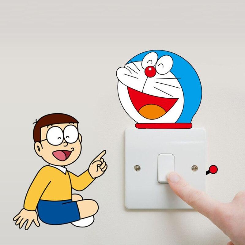 Wallpaper 10 Buah Set Doraemon Switch Stiker Kreatif PVC Yang Bisa Dilepas Stiker Dinding Rumah Dekoratif
