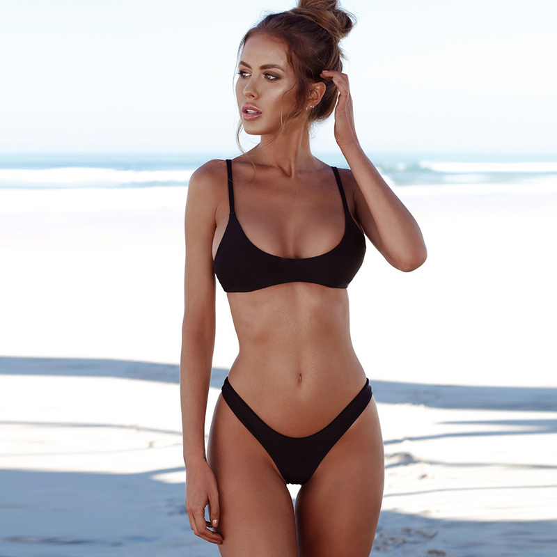 Sexy Solid Bikinis Women Swimsuit 2018 Halter Top Swimwear Push Up Bathing Suits Beachwear Brazilian Bikini Set Plus Size S-XXL hibkn print bikini pineapple print brazilian bikini halter swimsuit xl strappy bikinis 2018 push up swimsuit women swimsuits