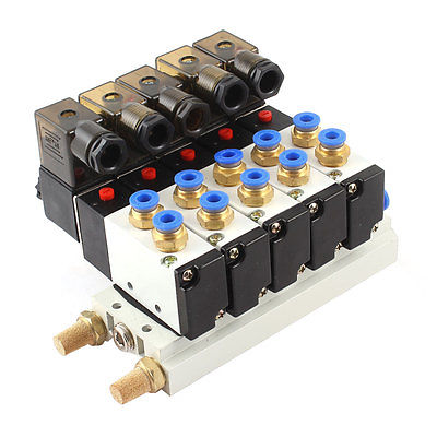 DC 24V 2 Position 5 Way Quadruple Solenoid Valve w Base Push In Silencer pc400 5 pc400lc 5 pc300lc 5 pc300 5 excavator hydraulic pump solenoid valve 708 23 18272 for komatsu