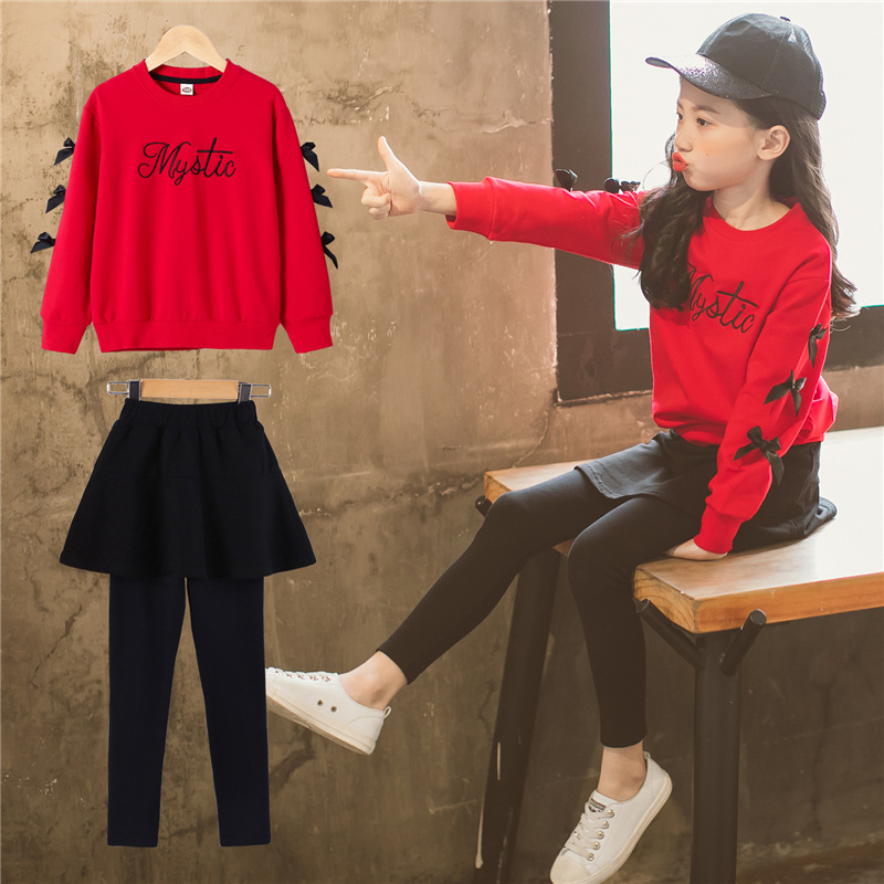 5ff102ff148 2018 new Long Sleeve Bow Little Girls Clothing Sets 4 5 6 8 10 years Skirt  Pants Hoodies 2 pieces Kids Suits Autumn Girls Outfit - aliexpress.com -  imall. ...