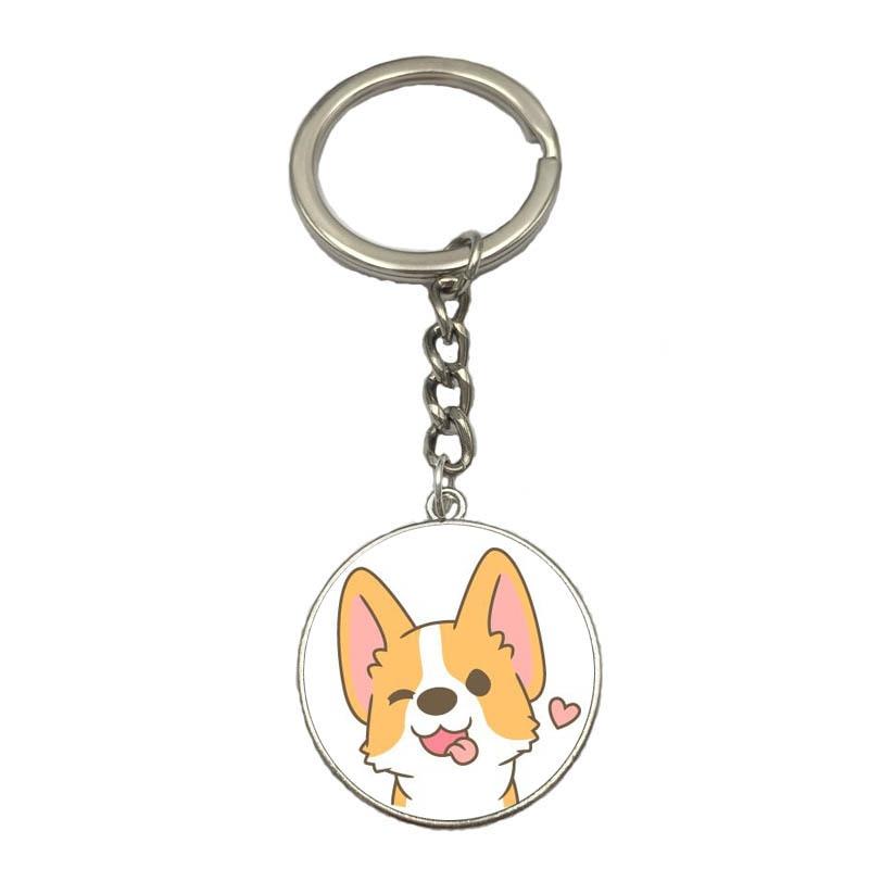 Kawaii Corgi Keychain Cute Dog Anime Key Chain Pendant Jewelry Cartoon Women Bag Charm Couple Gift Key Ring Jewelry Accessories