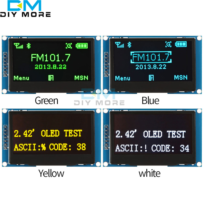 White/Blue/Green/Yellow 2.42 2.42 inch LCD Screen 12864 OLED Display Module IIC I2C SPI Serial for C51 STM32 SSD1309 0 96 inch yellow blue dual color oled display 12864 lcd screen module spi iic 3 3 5v interface