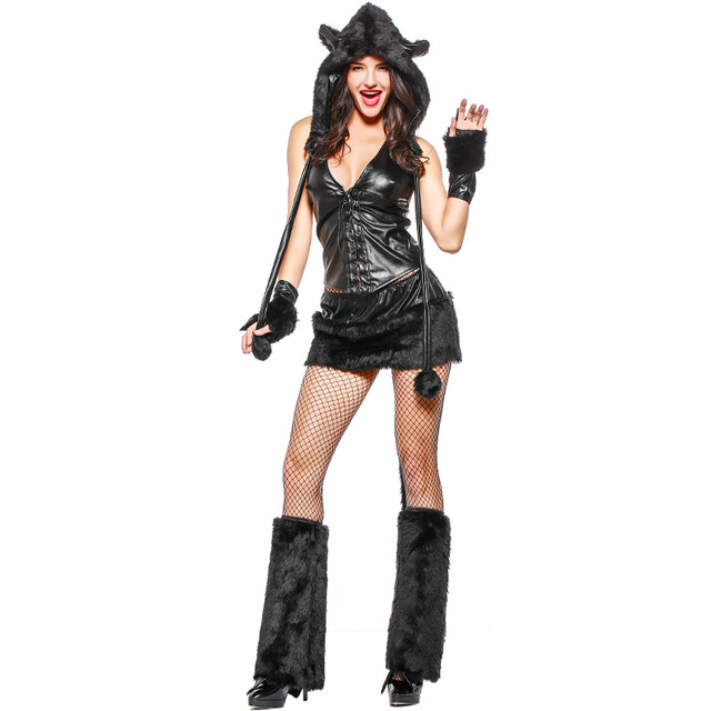Halloween Adult Women Animal Costumes Deluxe Black Sexy Catwoman Cat  Costume Fancy Dress Cosplay Clothing for Women 91fdf19c2fcc