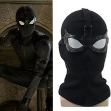 Marvel Movie Spider-Man Superhero Far From Home Stealth Suit Cosplay Mask Glasses Black Full Head Hood Halloween Party Props