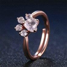 Joyme кольцо для женщин из розового золота с регулируемым размером в виде лапы кошки собаки медведя романтические кольца в форме сердца с фианитами