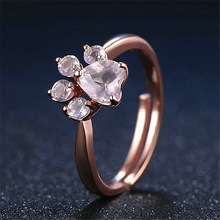 Cute Cat Dog Bear's Paw Rings For Women Romantic Animal CZ Heart Rose Gold Color Resizable