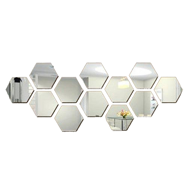 24pcs Wall Mirrors Mirror Wall Stickers Hexagon Mirror Decor Home
