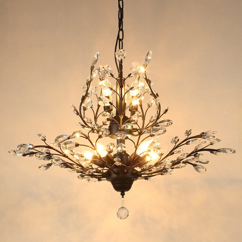 American style retro crystal chandelier European Mediterranean living room bedroom lamp entrance clothing stores iron chandelier living room lamp chandelier lamp simple european american restaurant nordic retro continental iron lighting lamps