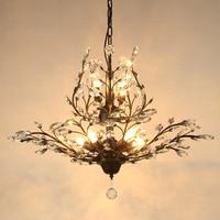 American Style Retro Crystal Chandelier European Mediterranean Living Room Bedroom Lamp Entrance Clothing Stores Iron Chandelier