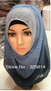 Wholesale New multicolor graduated color fashion wrinkle 2013 muslim square hijab/arabic hijab/shiffon scarves free shipping