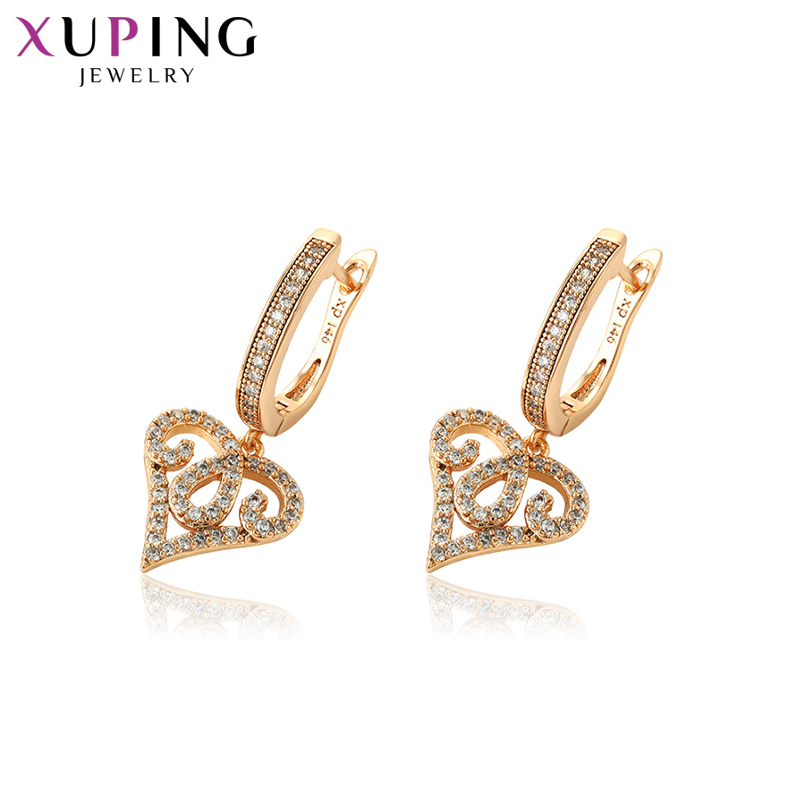 11.11 Deals Xuping Elegant Heart Shaped Earrings Eardrops Gold Color Plated Women Black Friday Jewelry Party Gift S82,9-95352