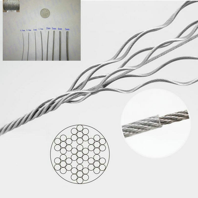 HQ 0.4/0.5/0.6/0.8/1.0/1.2/1.5/2.0/2.5/3.0/4.0/5.0/6.0MM Diameter 304 Stainless Steel Wire Rope With PVC Coating Coated Cable