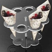 Acrylic 8 Holes Ice Cream Holder Cake Candy Shelf Transparent Display Stand Monolayer Kids Birthday Party