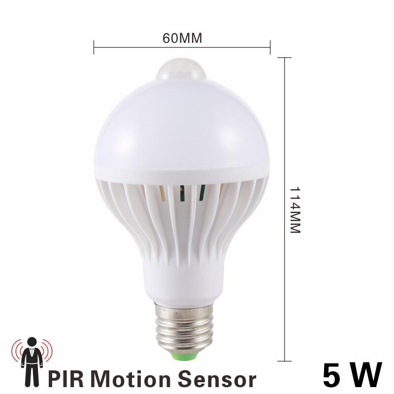 Светодиодная лампа 3W, 5 Вт, 7 Вт, 9 Вт, PIR датчик движения, лампа переменного тока, 220 В, 230 В, авто, умный Led PIR инфракрасный светильник для тела, E27, светильник с датчиком движения - Испускаемый цвет: 5W PIR Motion Sensor