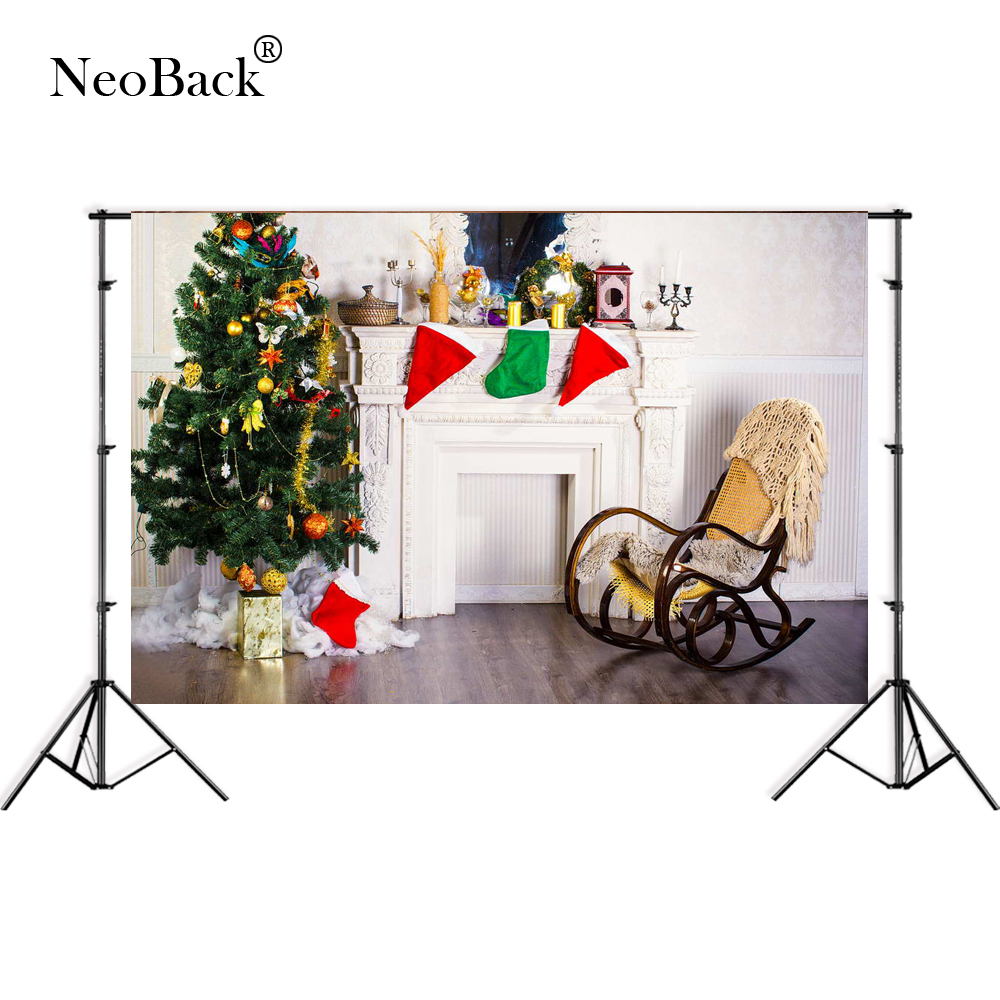 NeoBack 7x5ft wide Thin vinyl photo backgrounds vintage Christmas tree Banner decoration Fireplace Photographic backdrop B3088