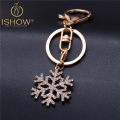 2016 Hot Fashion Snowflake Keychain Cubre Llaves Llaveros Gold Plated Keyring for Women Jewelry Gift Cute Snowflake Key Chain