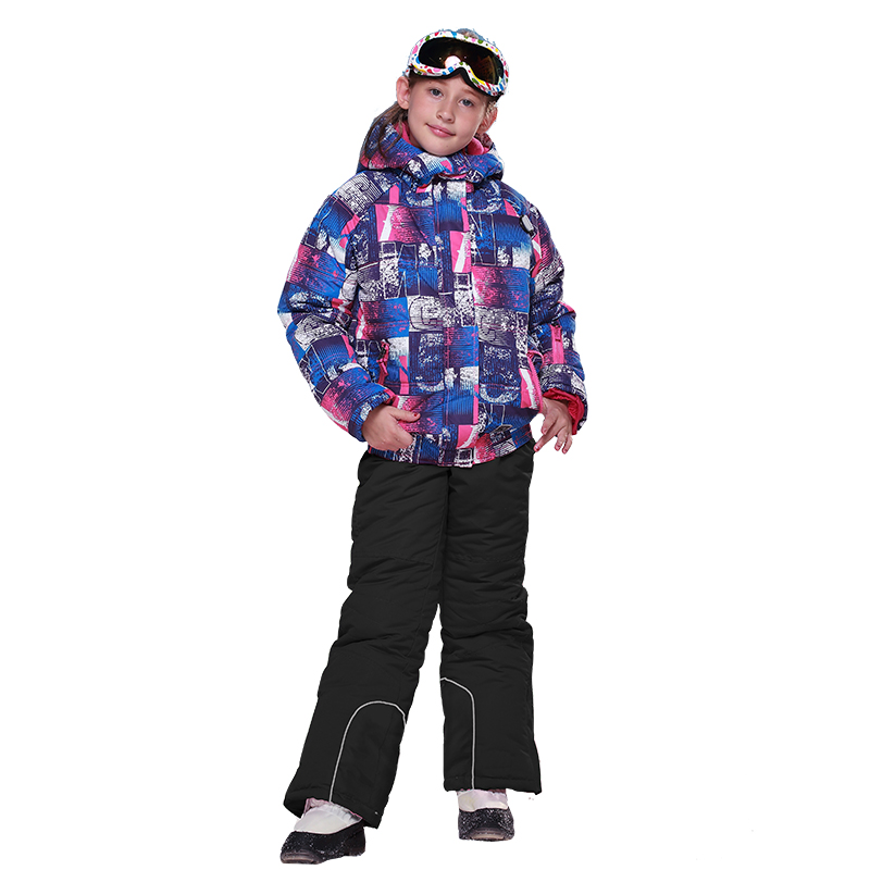 Russian Winter Kids Ski Suit Windproof Warm Girls Clothing Set Jacket +pants ski Set for girls boys hot winter beanie knit crochet ski hat plicate baggy oversized slouch unisex cap