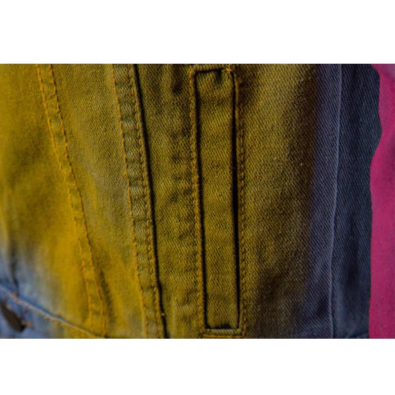 Aolamegs デニムジャケット男性の落書きカウボーイ男性のジャケットの男性のコートストリートヒップホップスタイルハイストリートファッション生き抜く