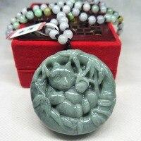 Zheru Jewelry Pure Natural Jadeite Green National Treasure Panda Pendant Tri Color Jadeite Bead Necklace A Class A Certificate
