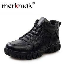 Горячая супер теплые российские зимние сапоги мужская обувь из натуральной кожи утепленные Мех мужские полусапоги Водонепроницаемый зимняя Уличная обувь