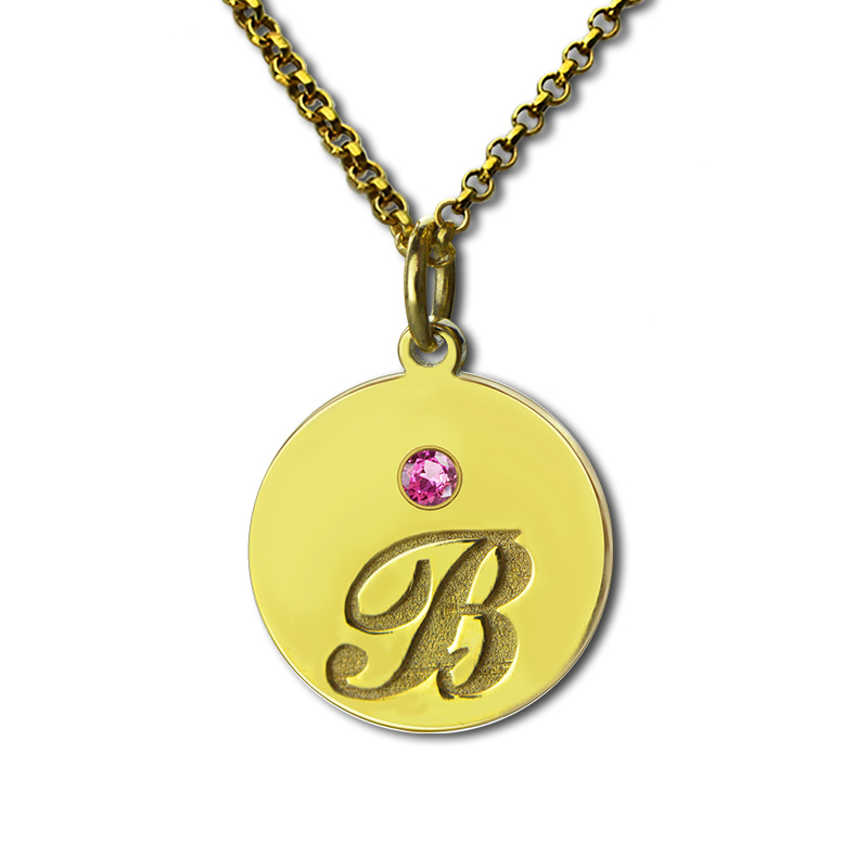 AILIN Engraved Kids Name Necklace Gold Color Initial Disc Necklace with Birthstone Remind Moms Children Monogram Jewelry ailin gold color monogram disc necklace personalized engraved initial disc pendant follow your heart name necklace faith jewelry