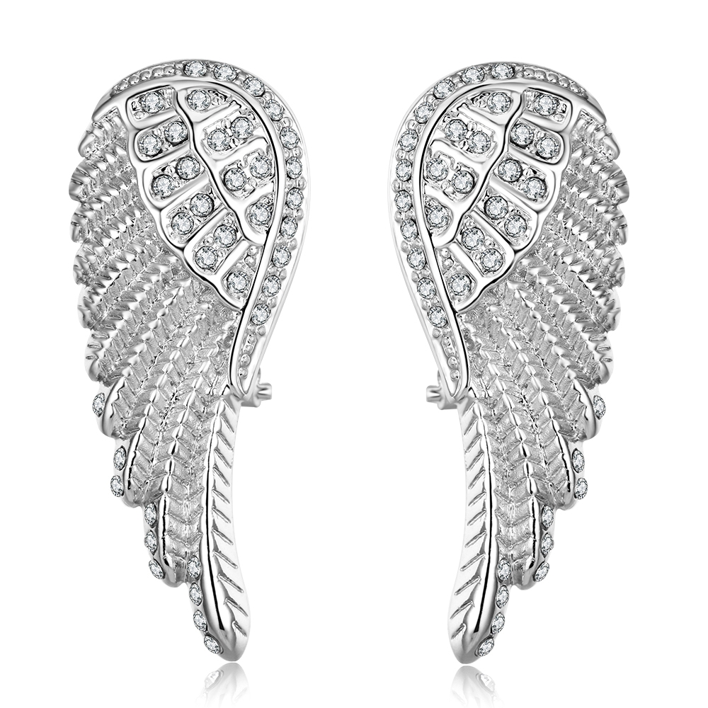 Drop Shipping Women S Earrings Jewelry Fashion Silver Color Rose Gold Angel Wings For Hot In Stud From