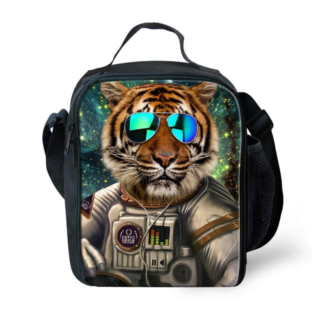 Zoológico portátil Cabeza Del Tigre Bolsa de Almuerzo para Los Niños Hombres Animal Búho Caja de almuerzo de la Escuela Viajes Impresión Pinic Bolsa de Almuerzo Térmica Lancheira