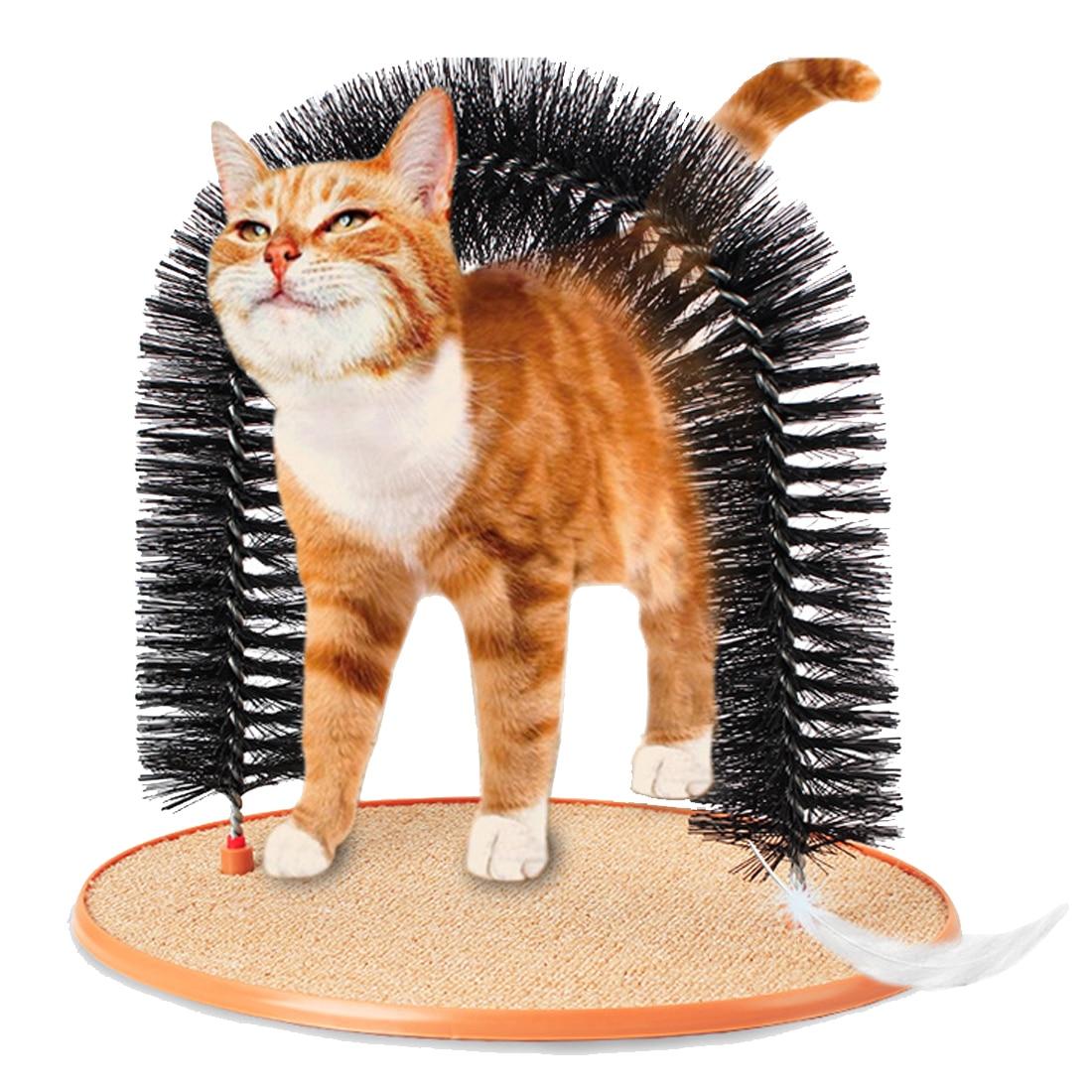 Productos para mascotas buen arco gato Groomer con ronda Base de lana gato cepillo de juguete juguetes para mascotas rascarse dispositivos
