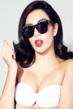 Home decoration Charli cleavage sunglasses red lipstick sexy women poster  TS20