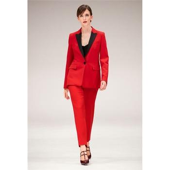 Women Pant Suits Formal Black Notched Lapel Suits For Women One Button Business Women Suits Ladies Business 2 Piece Suits