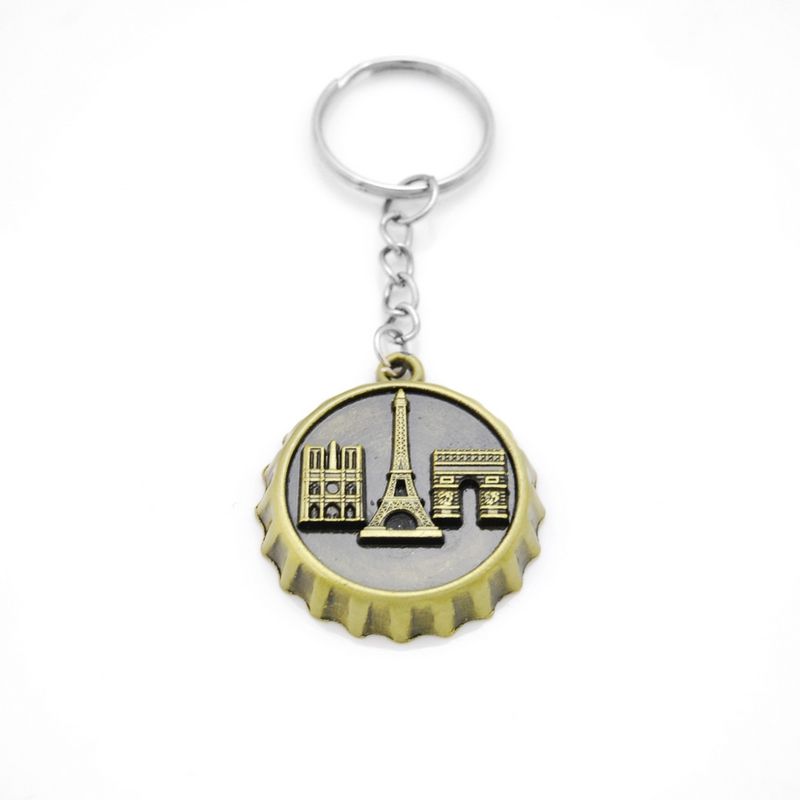 Bottle Cap souvenir Key Chains for Boys Gift Eiffel Tower Arc de Triomphe Notre Dame de Paris Keychain for Male Wine Cap Gift