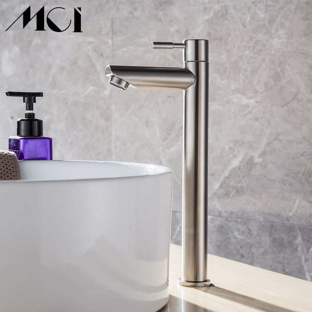 Image 4 - 304 Stainless Steel Deck Mounted Sink Basin faucet Rust And Corrosion Resistance Bathroom Kitchen Single Cold Water Faucet Mci-in Basin Faucets from Home Improvement