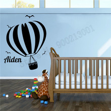 Wall Sticker Hot Air Balloon Home Decor Personalized Name Poster Vinyl Art Removeable Mural Beautiful Kidsroom Ornament LY715 цена и фото