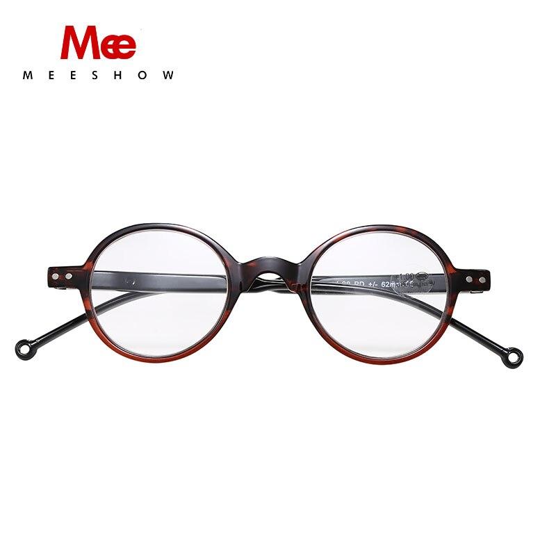 Meeshow óculos de leitura armação óculos estilo redondo feminino oculos lesebrillen das mulheres dos homens + 1.0-+ 4.0 óculos de leitura redondos 1673