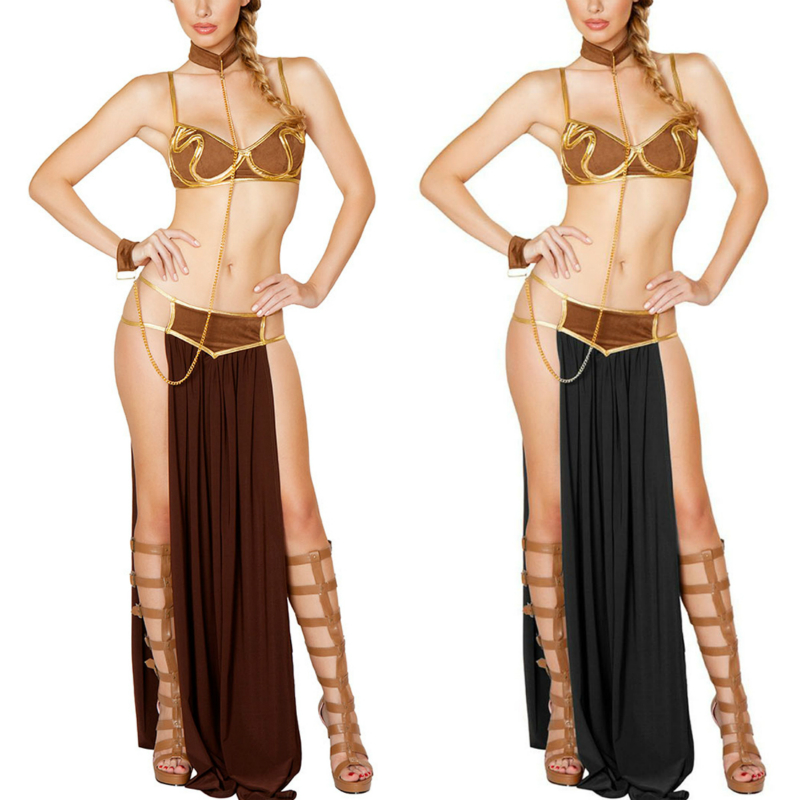 Cosplay for Star Wars in <font><b>Halloween</b></font> Carnival Party Vestidos <font><b>Anime</b></font> <font><b>Costumes</b></font> Adult Women <font><b>Sexy</b></font> Princess Leia Slave Bra+skirt Black image