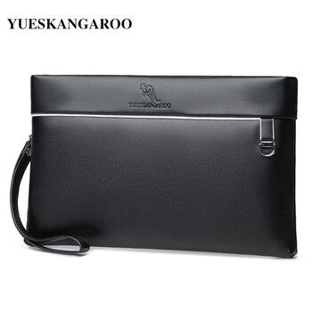 Znane marki prawdziwej skóry mężczyzn portfel długa torebka designerska czarny biznes męskie kopertówki posiadacze kart dla człowieka koperta pakiet
