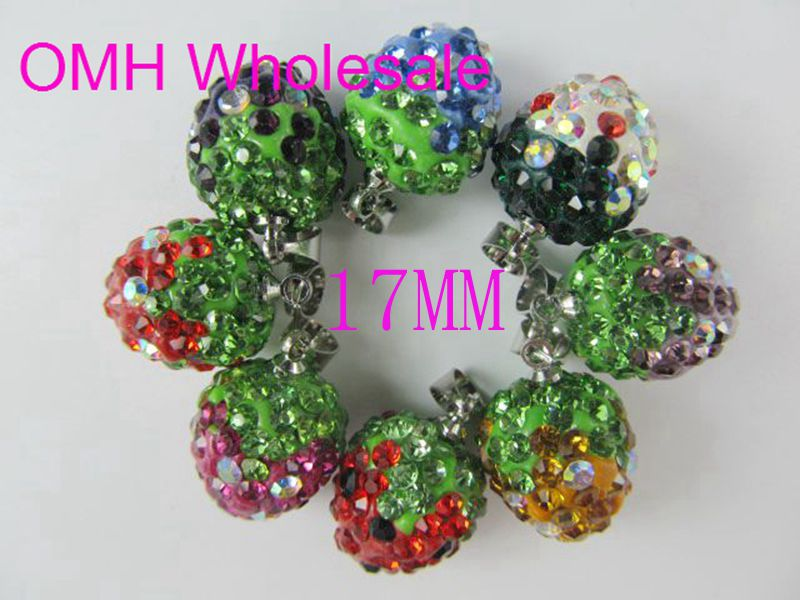 OMH wholesale 10pcs 17mm mix DIY Jewelry accessories AAA++ Crystal charm strawberry heart pendants for necklace earrings PJ311