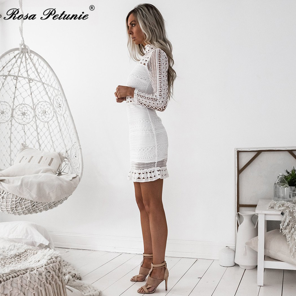 Rosa Petunie summer Dress 2017 Women Casual Beach Short Dress White Mini Lace Patchwork Dress Sexy Party Dresses Vestidos 2