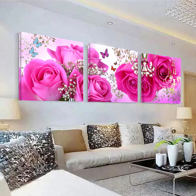 No Frame pictures 3PCS Modular Wall Picture Art Painting Of Roses ...