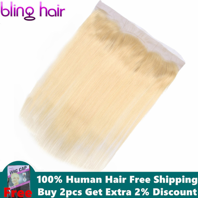 Bling Hair 613 Blonde Brazilian Straight Lace Frontal Closure 13*4 with Baby Hair Middle/Free/Three Part Remy Human Hair Closure