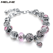 Luxury Wedding Heart Charm Bracelets For Women Silver Crystal Beads Bracelets&Bangles Classical  Friendship Jewelry SBR160279 luxury crystal heart charm bracelets