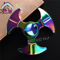 Rainbow In Stock Tri Spinner Fidget Toy Metal EDC Stress Wheel Hand Spinner For Autism And