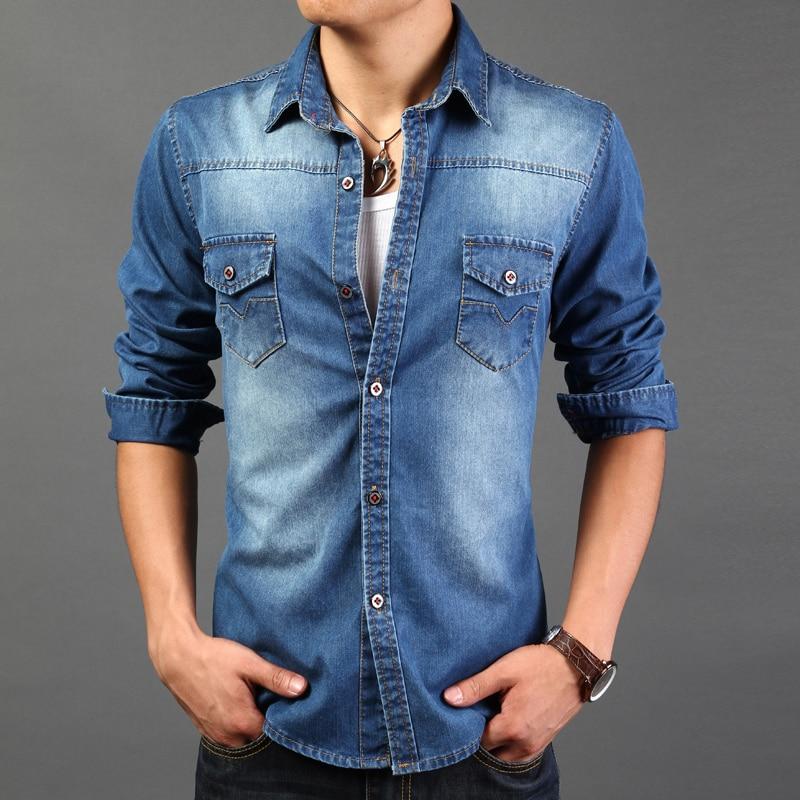 KLJR Men Long Sleeve Slim Solid Color Button Up Ruched Washed Western Denim Shirt