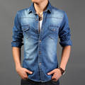 New 2016 Men Shirt Soft Stretchable Stone Washed Fashion Long Sleeved Denim Shirt Men Jeans Jacket Plus Size XXXL For Male