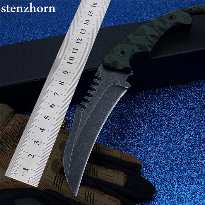Stenzhorn 2017 New Camping With Small Straight Cutting Tool Self-defense Survival High Hardness G10 Non-slip Handle Swiss Knife high quality army survival knife high hardness wilderness knives essential self defense camping knife hunting outdoor tools edc