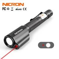 NICRON 2xAAA Red Laser Pen Flashlight Waterproof IP65 Mini Torch Lamp Lighting For Guide Outdoor 120Lumens 75M Beam Distance B24